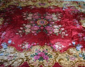 "Red Velvet Gypsy Bedspread or Wall Hanging, Deep Ruby, Italian, 96""w. x 79""l."