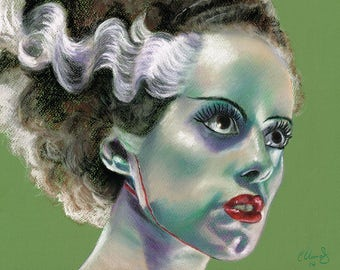 The Bride of Frankenstein, Original Pastel Drawing by Chantal Handley