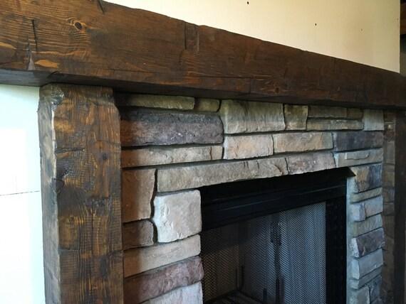 Wooden Mantel, Fireplace Surround, Hand Hewn Mantel, Rough ...