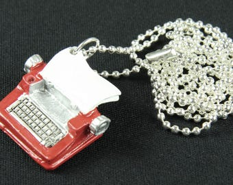 Typewriter Keys Necklace Miniblings 80cm writer author RED
