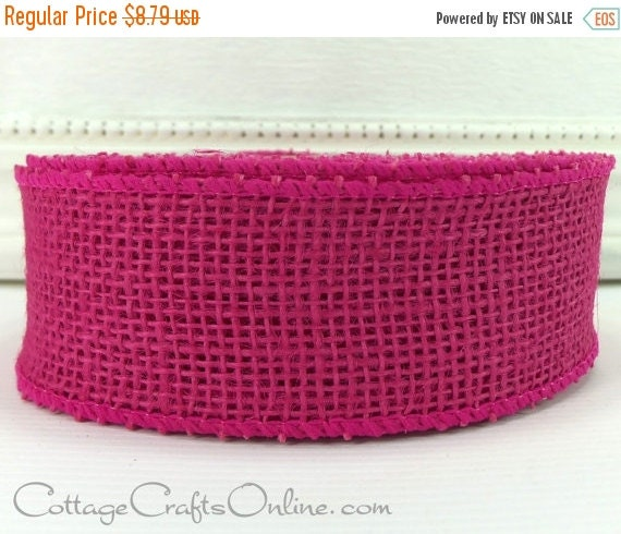 """EXTRA Savings CLEARANCE!! Burlap Wired Ribbon, 1 1/2"""" wide, Fuchsia Pink - TEN Yard Roll - Natural Jute Hot Pink, Spring, Summer Wired Edge"""