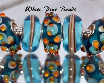 Murano Glass Lampwork Beads Lake Blue and Pink  5 PC Set for European  Charm Bracelets WhitePineBeads