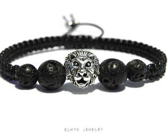 Lion Bracelet, Black Cord Bracelet, Mens Gemstone Bracelet, Mens Beaded Bracelet, Black Lava Bracelet, Mens Jewelry, Macrame Bracelet