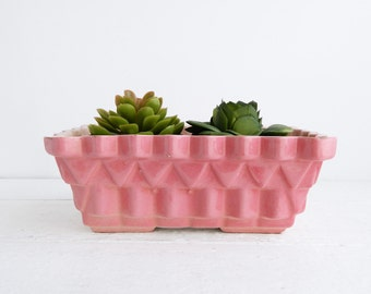Vintage Upco Pottery Pink Planter - Geometric Zigzag Pattern Ceramic Flower Pot