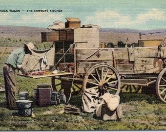 Cowboys, Chuck Wagon, Cowboys Kitchen - Linen Postcard - Postcard - Unused (II)