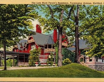 Hartford, Connecticut, Farmington Avenue, Mark Twains Residence - Linen Postcard - Postcard - Unused (B1)