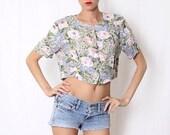 ON SALE Vintage 90's Floral Pastel Crop Top