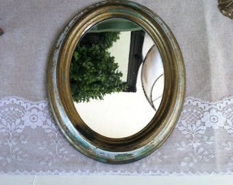 Gold antiqued mirror made in Italy antiqued gold oval mirror accent mirror shabby chic antiquing vintage plastic mirror