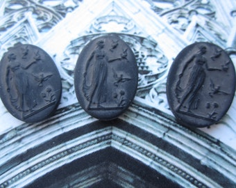 Vintage W. German Roman Goddess Diana Cabs Matte Black Glass 25x18mm 2Pcs.