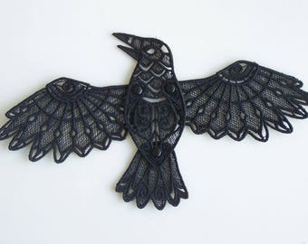 Lace Black Raven with Articulated Wings