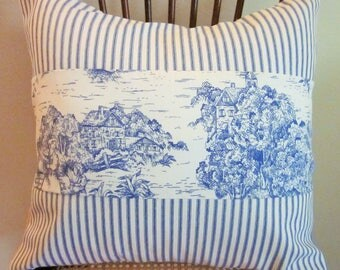 """Blue Toile Ticking Pillow Cover, Decorative Pillow,  20"""", 18"""", 16"""" 14"""", Medium Blue and Off-White"""