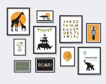 Safari Printable, Nursery Printables, Zoo Gallery Wall, Kids Decor, Lion, Elephant, Giraffe, Rhino, Zebra, Monkey, African, INSTANT DOWNLOAD