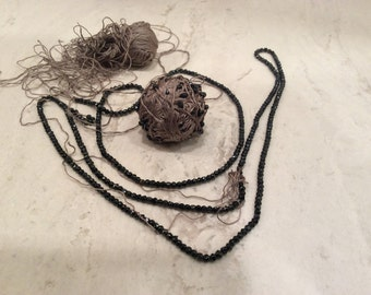 Vintage Black Jet Beads on Gray Silk Thread Vintage, Vintage Mourning Beads