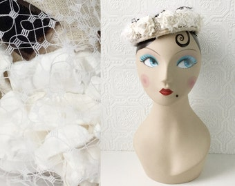 Wedding Hat, Bridal Veil, White Roses, Easter Bonnet, Netting, Crystal & Pearls, Brown Velvet Ribbon, by Elizabeth Astoria, Vintage 1950's