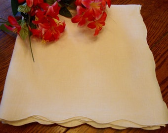 Ivory Linen Tablecloth Vintage Table Cover Table Linens