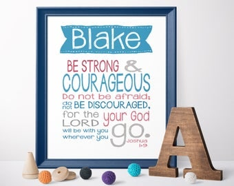 Christian nursery etsy baptism gifts from godparents christening gift godson joshua 1 9 strong and courageous negle Gallery