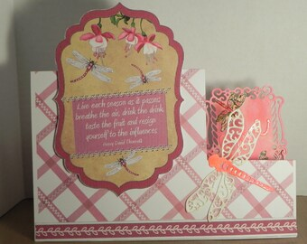 Dusty pink dragonfly side stepper card.