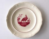 "Copeland Spode, ""Gadroon, Mulberry Bird & Verge"", red transferware plate, English transferware plate 9 1/4"""