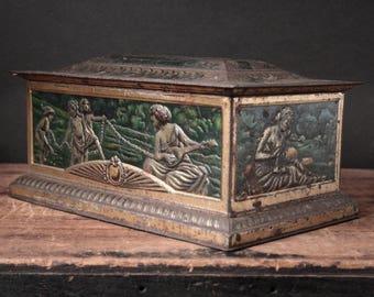 Vintage tin box, Colman's mustard tin box, rustic tin box