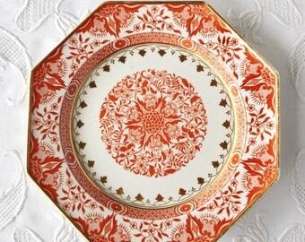 "Antique Minton plate, orange transferware, Denmark pattern, 9"" octagonal plate, England"