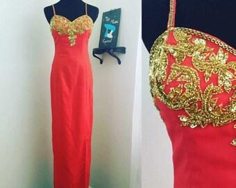 Timeless 1980s Red Formal Evening Dress