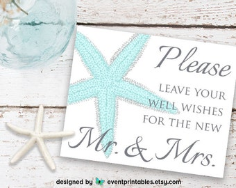 Wedding Well Wishes Sign, Aqua Turquoise Blue Starfish Beach Wedding, New Mr. & Mrs. Sign, Printable DIGITAL DOWNLOAD by Event Printables
