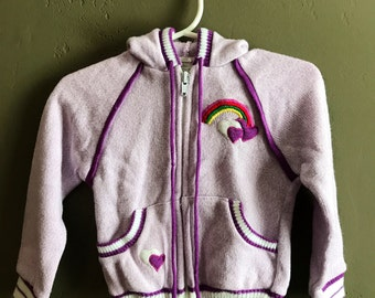 Super Cute Purple Rainbow and Hearts Hoodie 24months