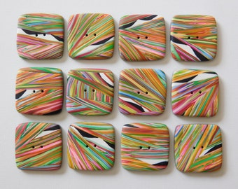 Square Rainbow Striped Polymer Clay Buttons