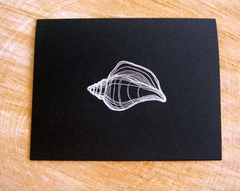 Conch Shell Cards, Black and White Cards, Ocean Inspired Stationery, Handstamped Greeting Cards, Black Cards and White Envelopes