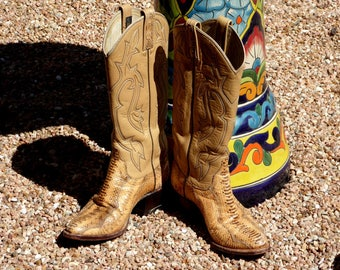Vintage Dan Post Ladies Snake Western Boots SMALL 5 C, Dan Post Tall Ladies Snake Boots Size 5 C
