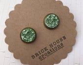 Sale! Light Sage Metallic Druzy earrings