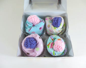 Baby Cupcakes, Washcloth Cupcakes, Burp Cloth Cupcakes in Sweat Treats and Dot Prints & Set of 2 Baby Booties in Pink and Purple