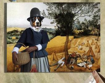 Greater Swiss Mountain Dog Art CANVAS Print Fine Artwork of Nobility Dogs Dog Portrait Dog Painting Dog Art Dog Print