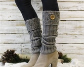 cuff leg warmers In Silver grey,  knit legwarmers, knee socks, boot cuffs, tall socks, knitted socks,winter,fall, boho, country grace | LW11