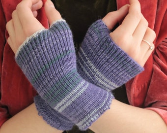 Felting KNITTED HAND WARMERS  Alpaca yarn shades of purple and grey - open fingers boho chic hand cranked and washed to shrink and felt
