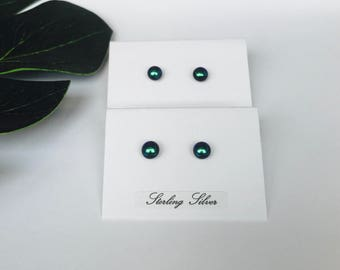 Tiny Emerald green dichroic glass studs - fused glass studs on sterling silver