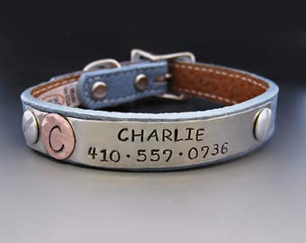 Custom Leather Personalized Dog Collar for SMALL DOGS /Puppy Plate / Pet Gifts / Personalized Dog Tags for Pets /Monogram / Pet ID Tag