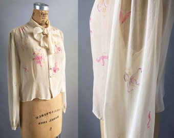 Unbelievable 1940s Orchid Painted Vintage Long Sleeve Silk Chiffon Bow Blouse by Lord and Taylor