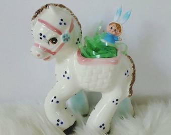 Horse Baby Planter, Vintage Ceramic Pastel Pony, Nursery Decor