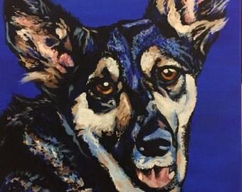 "10"" x 10"" Custom Hand Painted Pet Portait - Acrylic on Canvas"