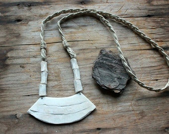 Slate Necklace. Polymer Clay Necklace. Wearable Art