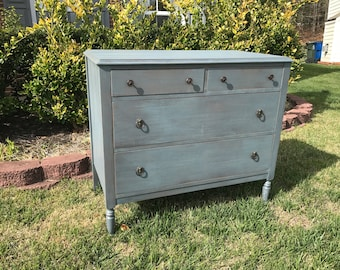 SOLD ** Vintage Chic Blue Grey Dresser