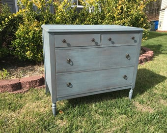 Vintage Chic Blue Grey Dresser