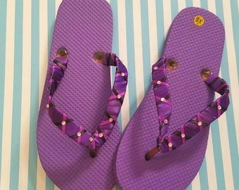 Wedding flip flops, purple flip flops,  beach wedding,  bridesmaid,  Wedding shoes, Wedding flip flops,  flip flops, purple sandals