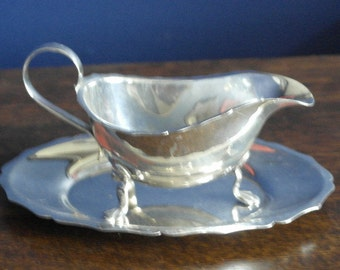 antique silver plate sauce boat and tray