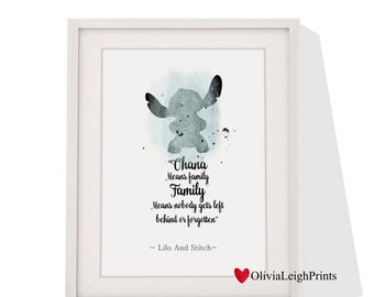 Disney Lilo And Stitch Watercolour Word Art Quote Print-Wall Art-Gift-Frame Available