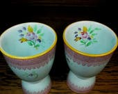 Vintage Pair Double Egg Cups Lowestoft ADAMS Micratex England Pink Green Rose Bouquets