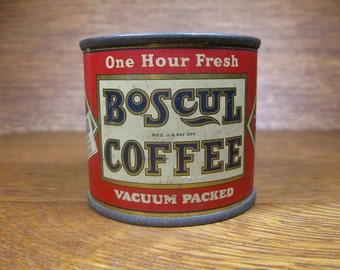 Vintage 1927 Advertising Boscul Vacuum Packed Coffee Sample Tin Can Coin Penny Bank with Image of Waiter Wm. S. Scull Co.
