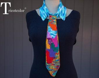 Col, cravate, femme tricoté main en laine et coton, tricotcolor