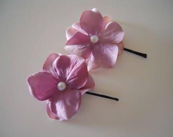 Lilac Purple Flower Petals Hair Pin, Set of 2